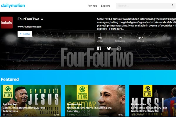 Dailymotion Teams Up with Haymarket's FourFourTwo, Expanding its Roster of Premium Content Partners